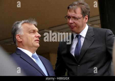 Belgrade, Serbia. September 5th, 2016: Hungarian Prime Minister Viktor Orban at the official visit to Aleksandar - Stock Photo