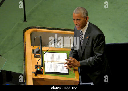 New York, United States. September 20th, 2016: United States President Barack Obama holds a speech at the General - Stock Photo