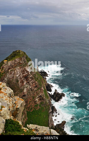 South Africa: stormy Ocean and weather at Cape Point, a promontory at the southeast corner of the Cape Peninsula - Stock Photo