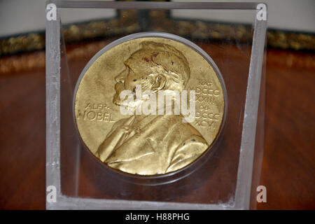 Belgrade, Serbia. October 7th 2016 - Alfred Nobel on the Nobel Prize medal from 1961 year - Stock Photo