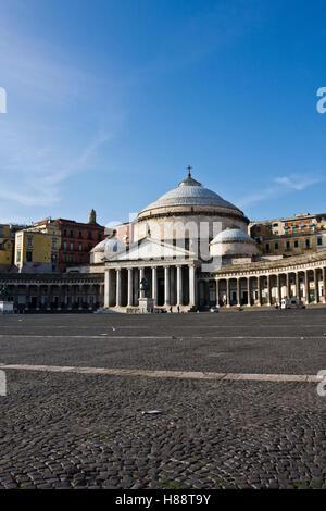 The Church of San Francesco di Paola, 1824, neoclassical architecture, in the Square of the Plebiscito, landmark - Stock Photo