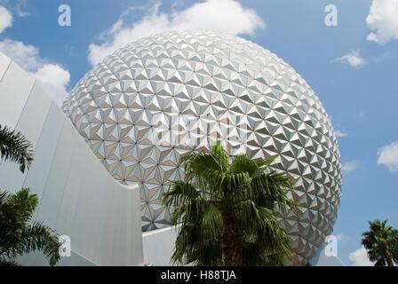 Spaceship Earth at Epcot, Walt Disney World Resort, Florida, USA - Stock Photo
