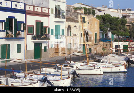 Fishing boats in Porto Colom, fishermen's houses, fishing port, Majorca, Balearic Islands, Spain, Europe - Stock Photo