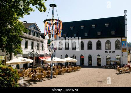 Restaurant and museum at the Alter Markt square in Attendorn, Sauerland region, North Rhine-Westphalia - Stock Photo
