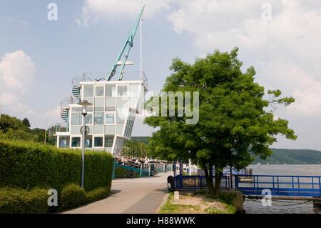 Regatta tower at the Baldeneysee lake, Essen-Werden, Ruhrgebiet area, North Rhine-Westphalia - Stock Photo