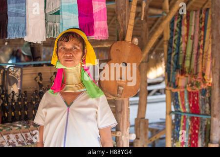 Karen long neck people in northern Thailand - Stock Photo
