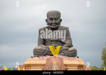 Sculpture of revered Buddhist monk Luang Pu Thuat at Wat Huay Mongkol in Hua Hin Thailand - Stock Photo