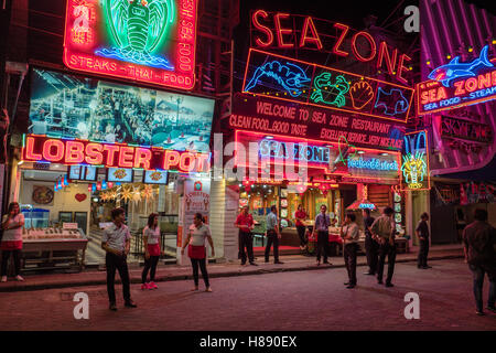 Walking street in Pattaya, Thailand - Stock Photo