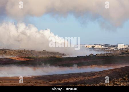 Reykjanes geothermal power plant, Sudurnes at volcano area Gunnuhver, Grindavik, Iceland - Stock Photo