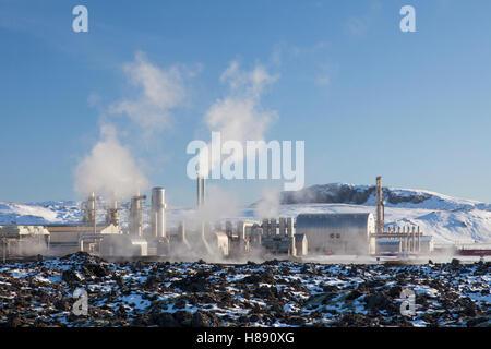 The Svartsengi Power Station, geothermal power plant in the Svartsengi geothermal field near Grindavík, Iceland - Stock Photo