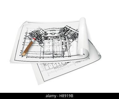 Architectural background. Part of architectural project, architectural plan, technical project, drawing technical - Stock Photo