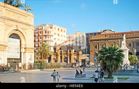 The Ruggero Settimo Square with the building of the National Theater and Triumphal Arch of Politeama theater, Palermo, - Stock Photo