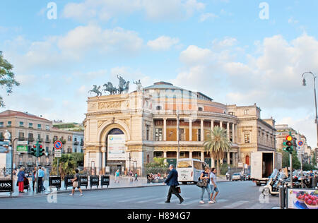 The facade of impressive Politeama Theater, located in Square of Ruggero Settimo and decorated with Triumphal Arch - Stock Photo