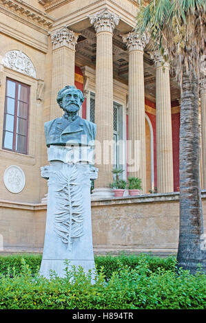 The  bust of Giuseppe Verdi in garden of Teatro Massimo - Opera and Ballet Theater, located in same named square, - Stock Photo
