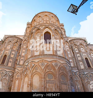 The Monreale Cathedral built in mix of different styles - Byzantine, French, Norman and Arab, it's apse decorated - Stock Photo
