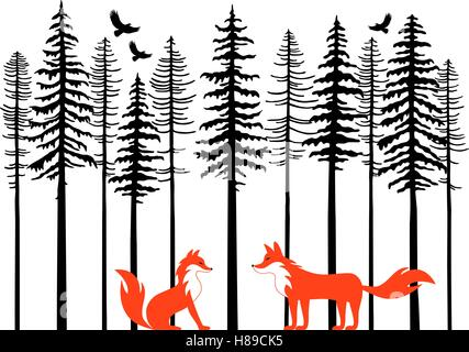 Fox couple in fir tree forest, vector illustration over white background - Stock Photo