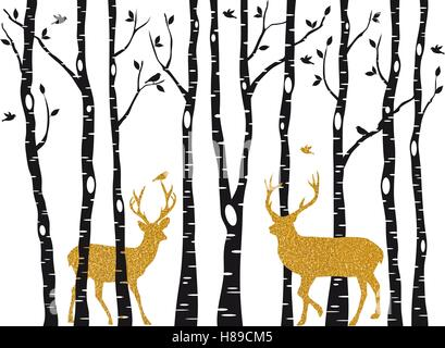Christmas card with golden reindeer in birch trees forest on white backround, vector illustration - Stock Photo