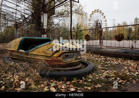 Abandoned amusement park in the ghost town Pripyat after the Chernobyl disaster 1986. Pripyat, Chernobyl Exclusion - Stock Photo