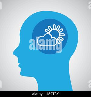 symbol weather icon. silhouette head and cloud sun vector illustration eps 10 - Stock Photo