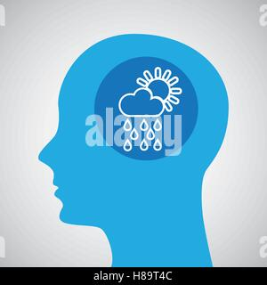 symbol weather icon. silhouette head and cloud rain sun vector illustration eps 10 - Stock Photo