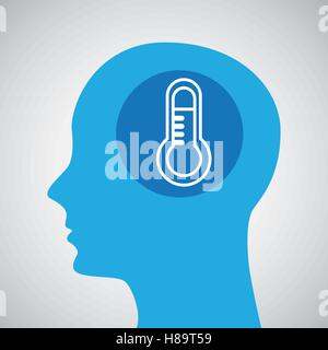 symbol weather icon. silhouette head and thermometer vector illustration eps 10 - Stock Photo