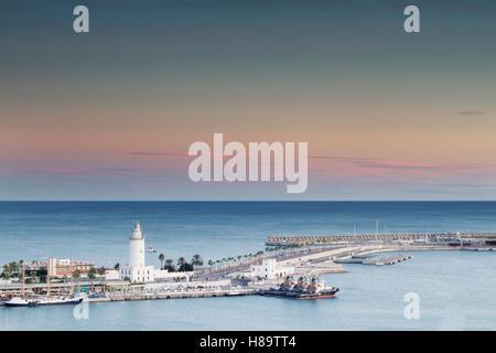 'La farola' lighthouse in Málaga, Spain - Stock Photo