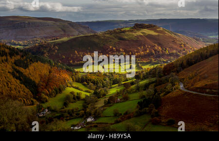 View from Horseshoe Pass Wales in Autumn - Stock Photo