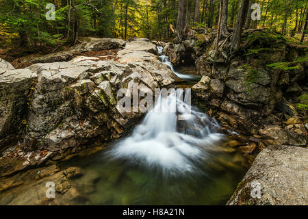 Waterfall at the Basin in Franconia State Park, New Hampshire, USA. - Stock Photo