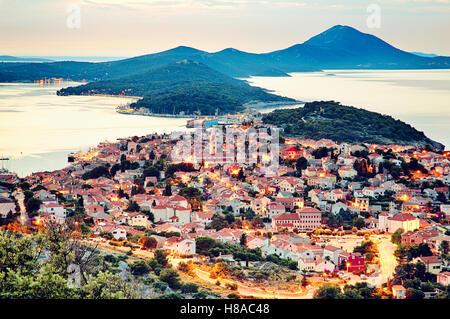 Panoramic view of the largest island town on the Adriatic sea, Mali Losinj, Croatia - Stock Photo