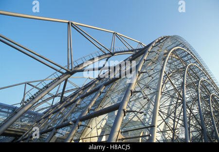 Steel structure of the exhibition hall, Neue Messe, modern architecture, steel, glass, Leipzig, Saxony - Stock Photo
