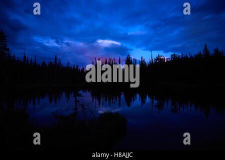 Sunset over Spruce Lake - Stock Photo