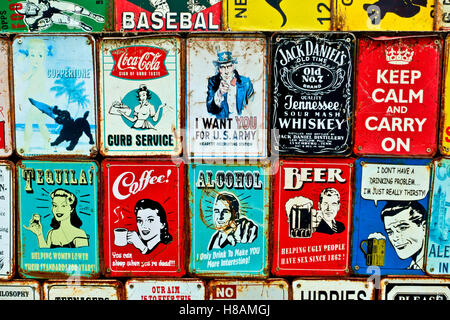 Collectable vintage plaques at the Portobello Road market. London, England, UK. Close up - Stock Photo