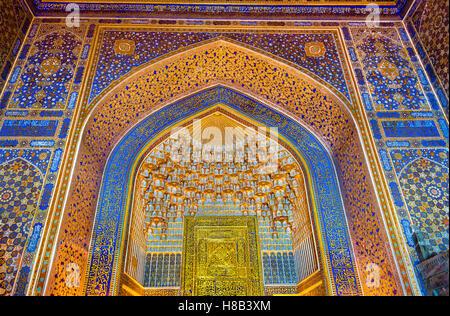 Interior of Tilya-Kori Madrasah on Registan Square in Samarkand - Uzbekistan - Stock Photo