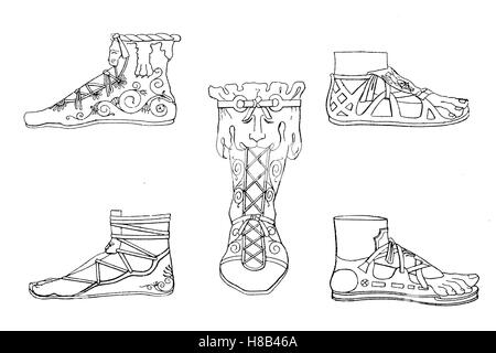 Roman shoemaker of antiquity, in the time of Emperor Constantine, History of fashion, costume story - Stock Photo