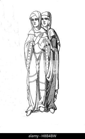 Frankonian women, 9.-10th century, History of fashion, costume story - Stock Photo
