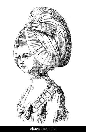 head of a lady with a Dormeuse, woman from Paris at the beginning of the revolution, History of fashion, costume - Stock Photo
