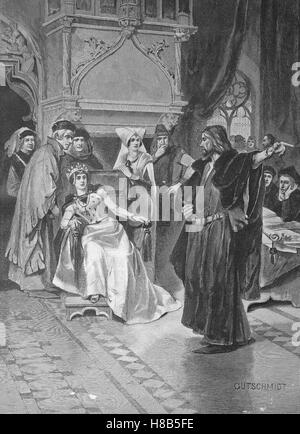 Christopher Columbus at the court of Queen Isabella of Spain, Woodcut from 1892 - Stock Photo