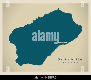 Modern Map - Santo Antao CV - Stock Photo