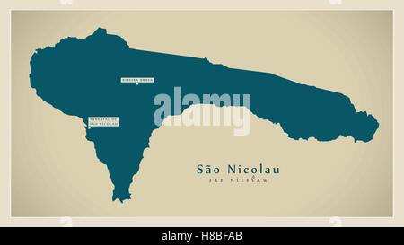 Modern Map - Sao Nicolau CV - Stock Photo