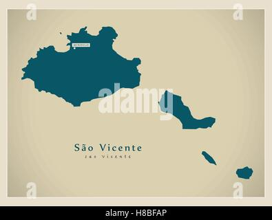 Modern Map - Sao Vicente CV - Stock Photo