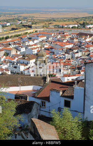 ELVAS, PORTUGAL: View of the Old Town and the city walls - Stock Photo