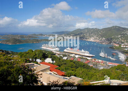 Ships and boats in harbor, seen from Paradise Point, St Thomas, Caribbean - Stock Photo