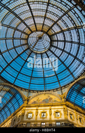 Glass ceiling, Galleria Vittorio Emanuele II, Milan, Lombardy, Italy - Stock Photo