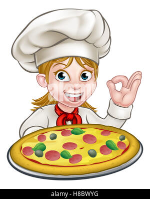 Cartoon female woman chef character holding a pizza and giving a perfect okay delicious cook gesture - Stock Photo