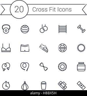 Set of crossfit gym equipment line icons of dumbbells, fitball, protein, stopwatch, punching bag, workout clothes - Stock Photo