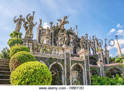 Fountain at the terraced garden of Palazzo Borromeo at Isola Bella, Lago Maggiore, Piedmont, Italy - Stock Photo