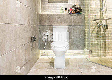 White toilet bowl in modern bathroom at hotel. Interior of toilet in bathroom. - Stock Photo