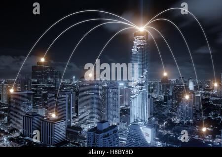 Network business connection system on Bangkok city in background. Network business connection concept - Stock Photo