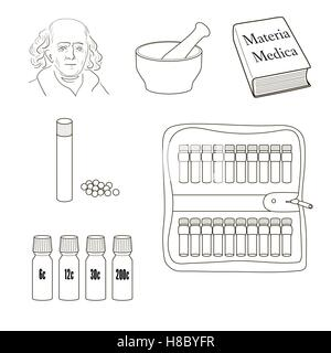 Homeopathy. Set of vector icons. Homeopathic pills, storage kit, mortal, pestle, book Materia Madica, bottles. - Stock Photo