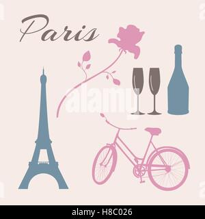 France, I love Paris vector icons set. French people ...
